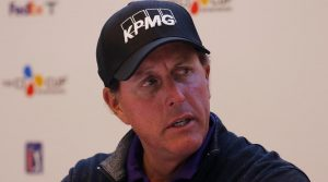 Phil Mickelson during a pre-tournament press conference Tuesday at the 2019 CJ Cup.