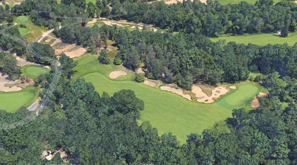 A view of the par-4 12th hole at Pine Valley via Google Maps.