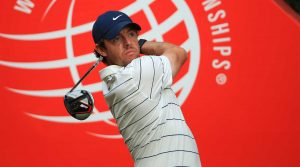 Rory McIlroy tees off during the first round of the WGC-HSBC Champions.