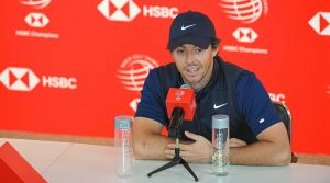 Rory McIlroy speaks to the media at the WGC-HSBC Champions on Wednesday in China.