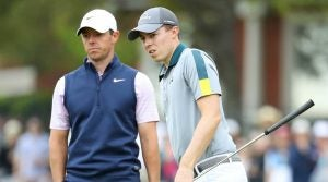 Rory McIlroy (left) and Matt Fitzpatrick at the 2019 WGC-Dell Technologies Match Play.
