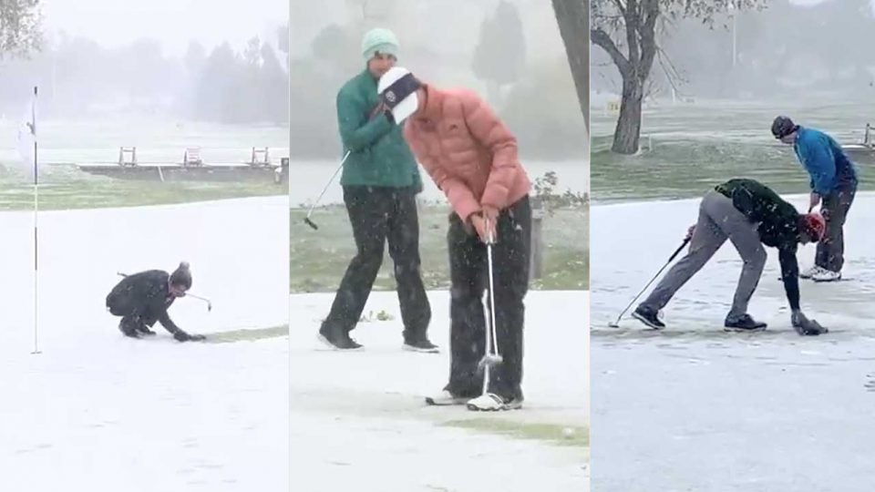 Players do their best to figure out how to beat the snow during the Montana state golf competition.