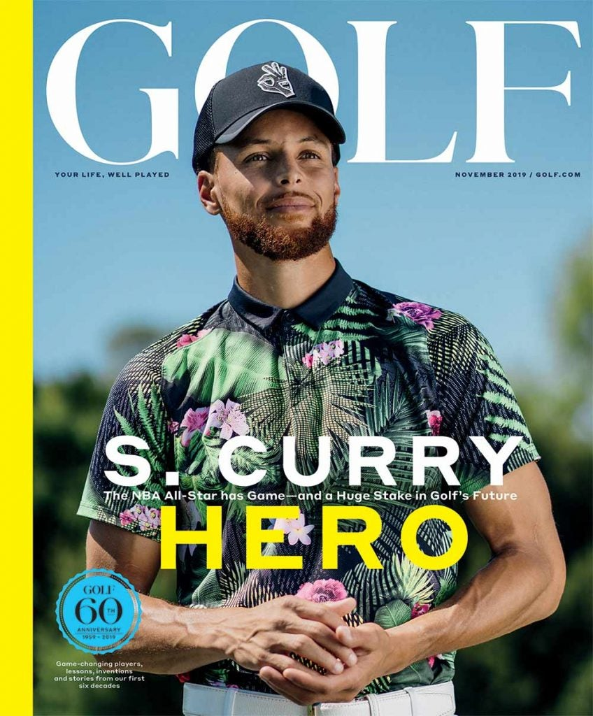 Steph Curry graces the cover of the November 2019 issue of GOLF Magazine.