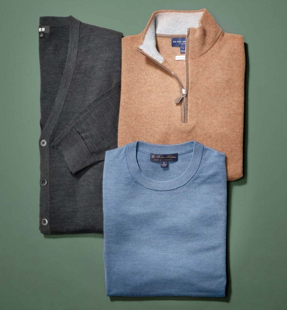 Clockwise from left: Uniqlo Extra-Fine Merino V-Neck Cardigan, $50; Peter Millar artisan Crafted cashmere flex quarter-zip, $598; Brooks Brothers BrooksTech Merino Wool Crewneck, $148.