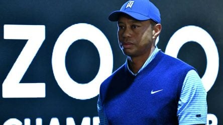 Tiger Woods leaves his press conference at the 2019 Zozo Championship.