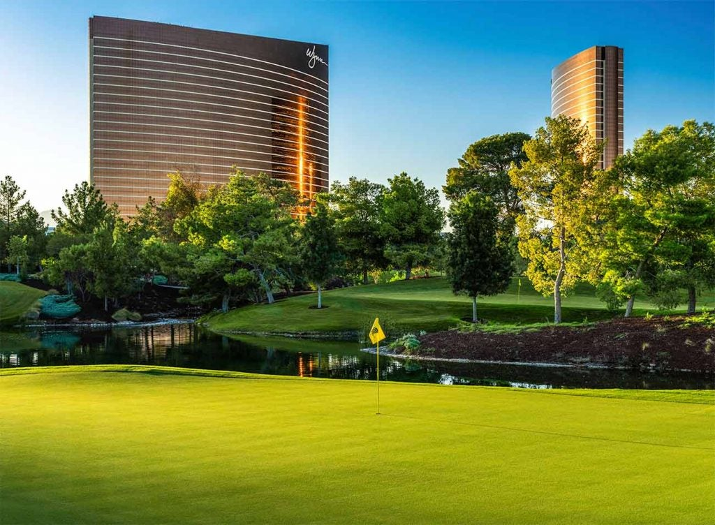 The 12th hole at Wynn Golf Club (with the Strip in the background).
