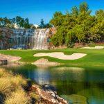 A view of the par-3 18th hole at Wynn Golf Club.