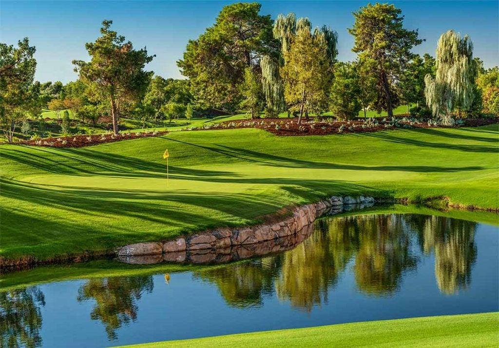 A view of the 5th hole at Wynn Golf Club in Las Vegas.