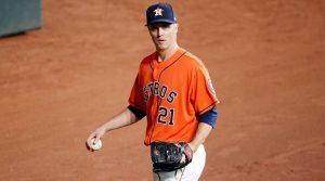 Zack Greinke walks off the mound during the World Series.