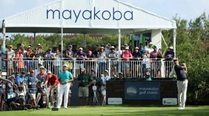 Matt Kuchar tees off during the final round of last year's Mayakoba Golf Classic.