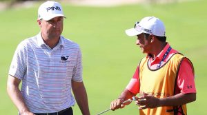 "David ""El Tucan"" Ortiz was caddying this week for Rob Oppenheim at the Mayakoba Classic."