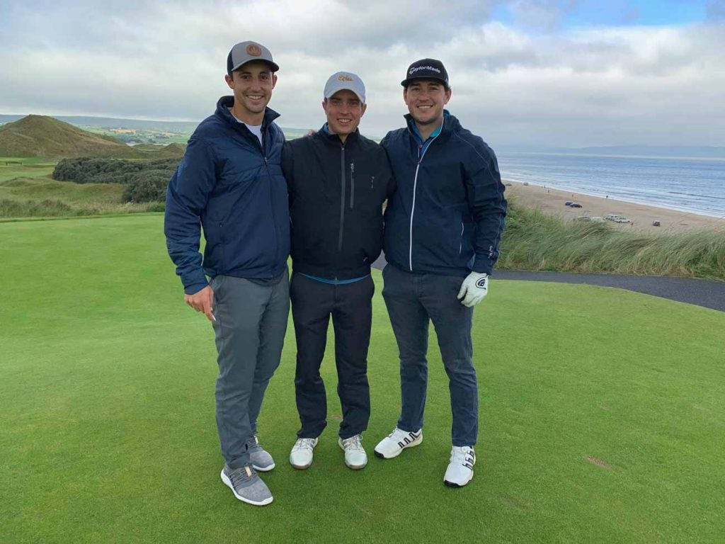 From left, the author, Taylor and Matt on the first tee at Portstewart.