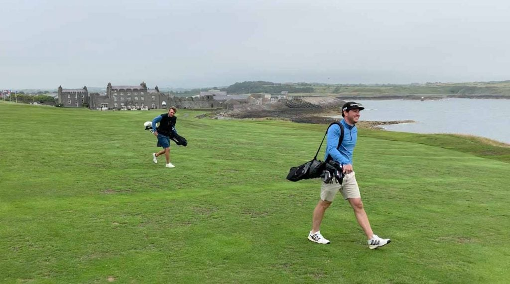 Matt and Taylor, with Ardglass' 600-year-old clubhouse/castle in the background.
