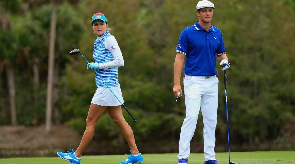 Lexi Thompson and Bryson DeChambeau partnered at the 2016 Franklin Templeton shootout.