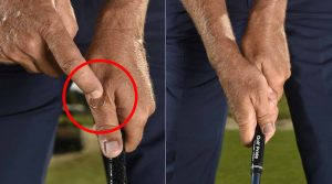 Place a penny on top of your left thumb, then secure it against your right palm. This, combined with your hands more on top of the handle, is ideal for most recreational golfers.