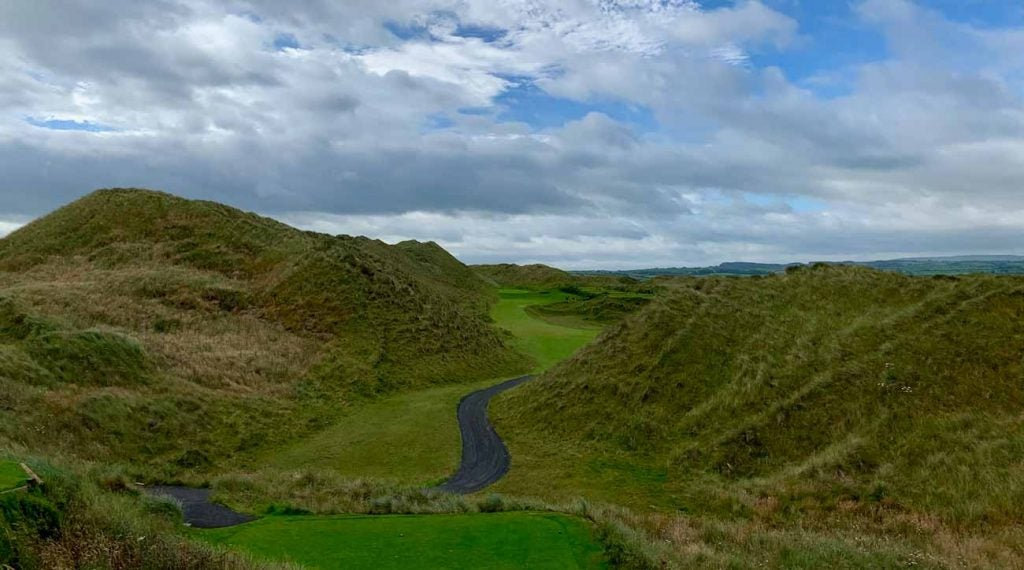 The 2nd hole tee shot at Portstewart.