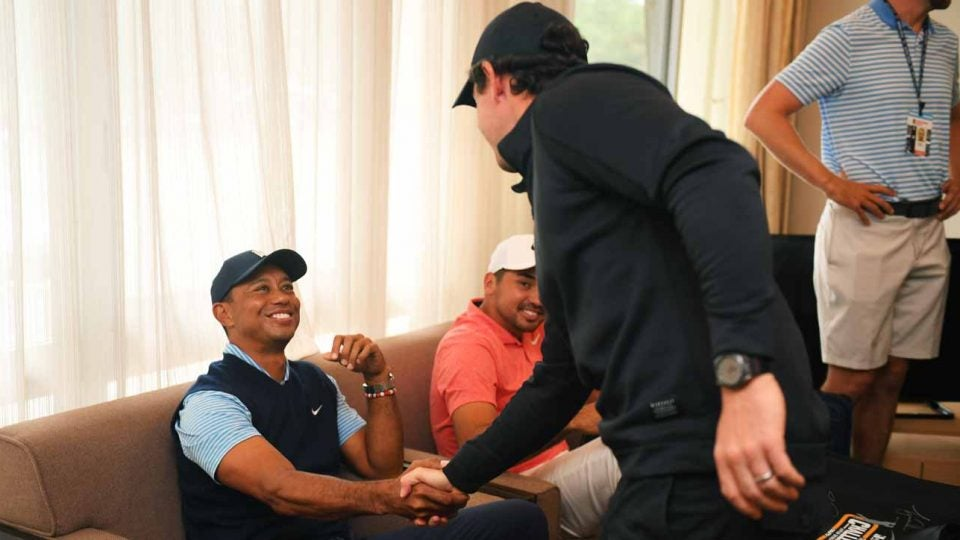 Tiger Woods and Rory McIlroy in advance of the Japan Skins.