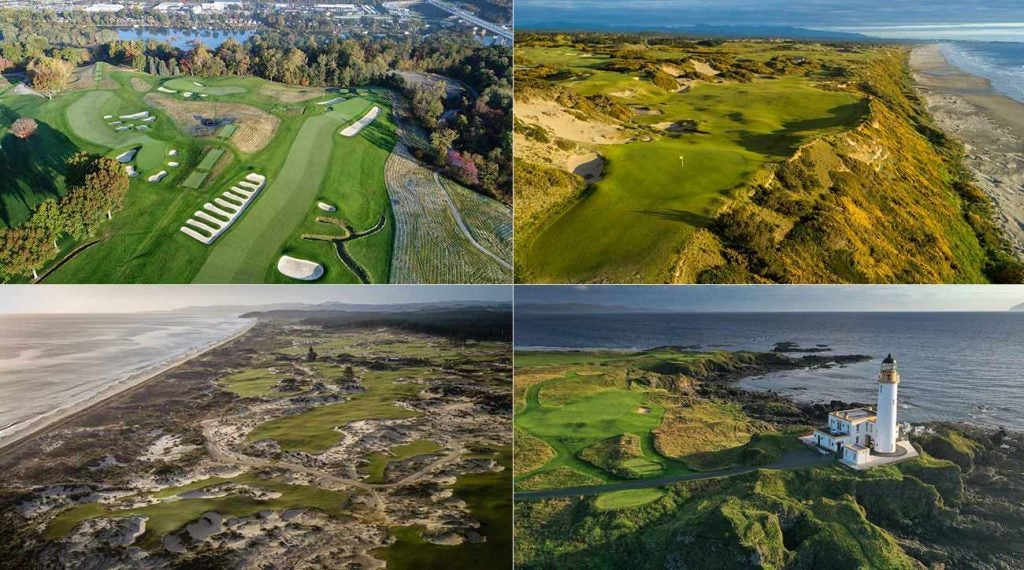 An aerial view of four courses on GOLF's Top 100 Courses in the World list, from top right, clockwise: Pacific Dunes (24th), Trump Turnberry, Ailsa (17th), Tara Iti (27th) and Oakmont (No. 8).