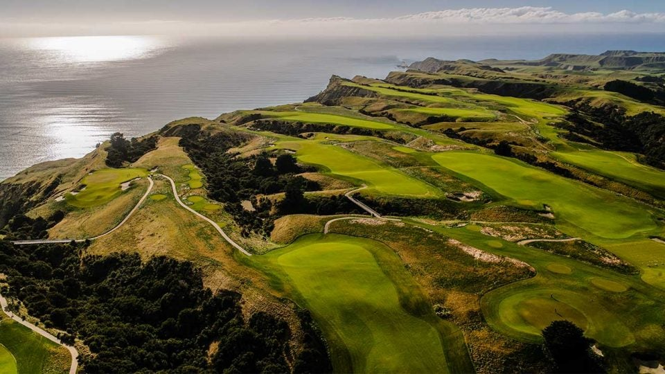 An aerial view of Cape Kidnappers, a 2004 Tom Doak design in New Zealand.