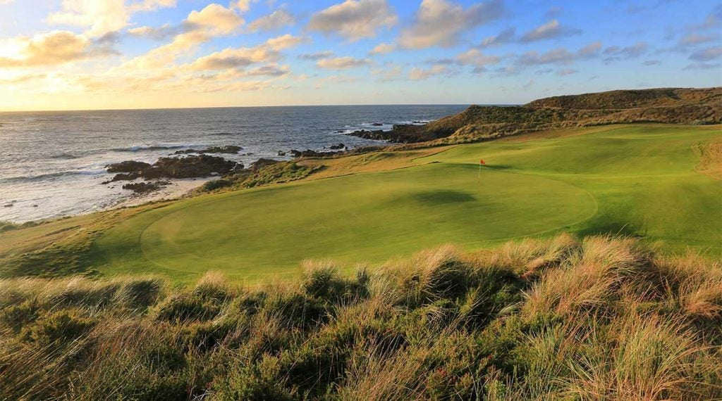 <p/><span>King Island, Australia</span> <span>Mike DeVries, 2015</span>  <p>Wickham wows with an opening stretch of seaside headland holes, three par-3s that skirt the sea and a Cape-style 18th that demands a bite-off-as-much-as-you-dare drive over Victoria Cove. Set in the windiest spot of any course on our list, Wickham compensates with wide landing areas. (Up 12)</p>