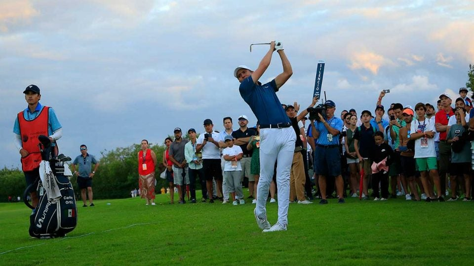 Carlos Ortiz hits a shot during the final round of the Mayakoba Golf Classic.