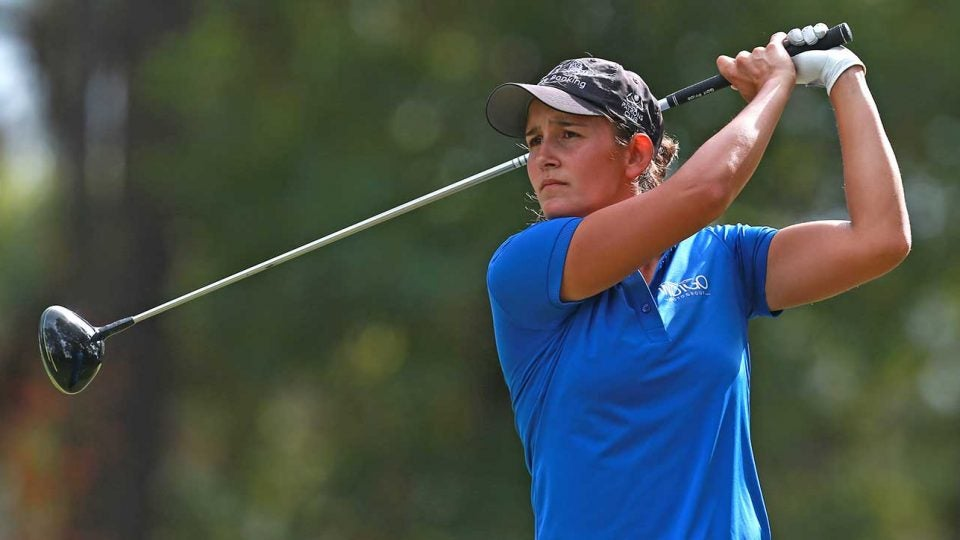 Dewi Weber tees off during a round at LPGA Q-Series.