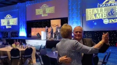 Jack and Barbara Nicklaus dance on Tuesday.