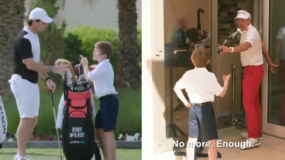 12-year-old Billy Jenkins tries in vain to interview Rory McIlroy and Ian Poulter.