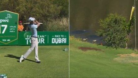 Thomas Detry hits a tee shot on the 17th hole during the second round of the 2019 Nedbank Golf Challenge.