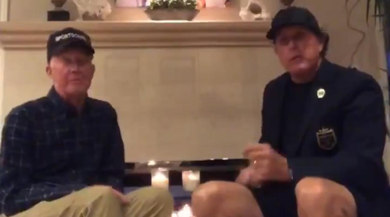 Phil Mickelson with his dad on the latest Phireside with Phil chat.