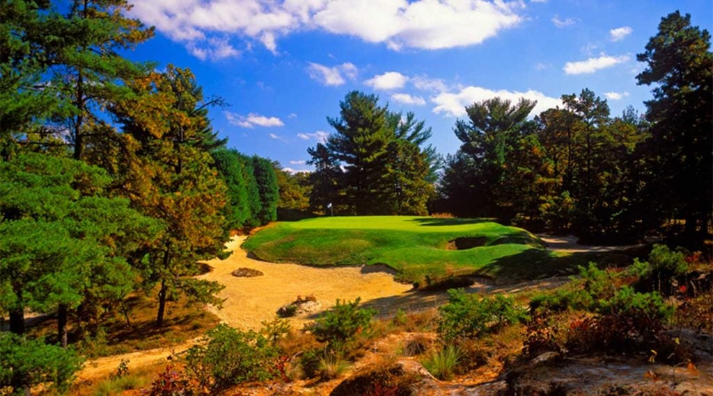 On the par-3 10th at Pine Valley, shots hit into the front right bunker (known as the Devil's A******) will still be there years later.