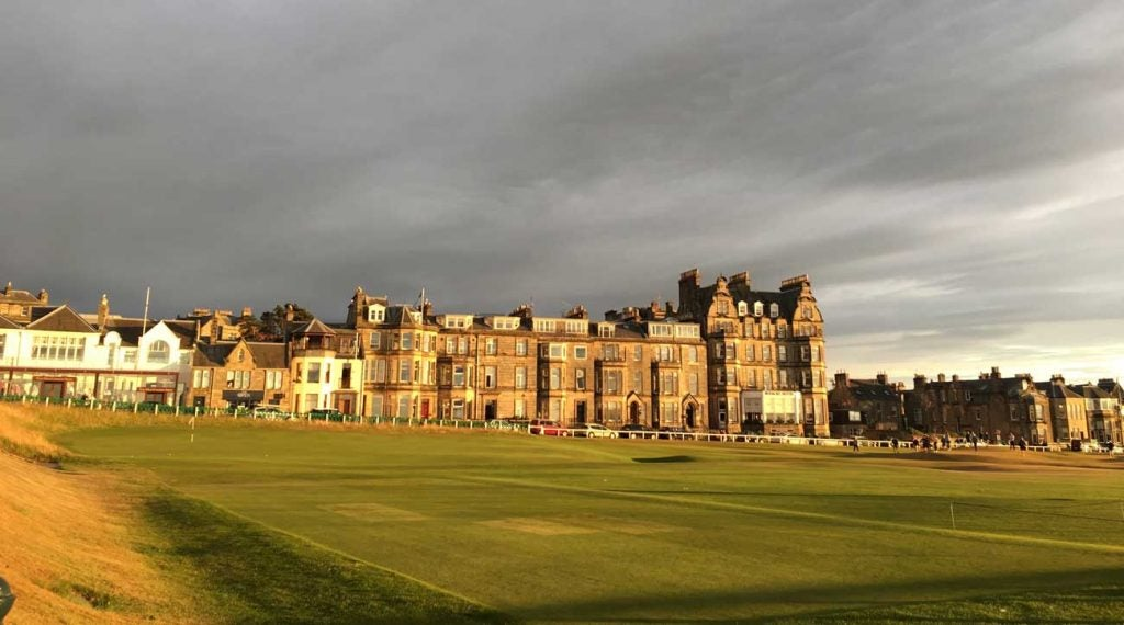 You can sit behind 18 and watch players finish at St. Andrews all evening long.