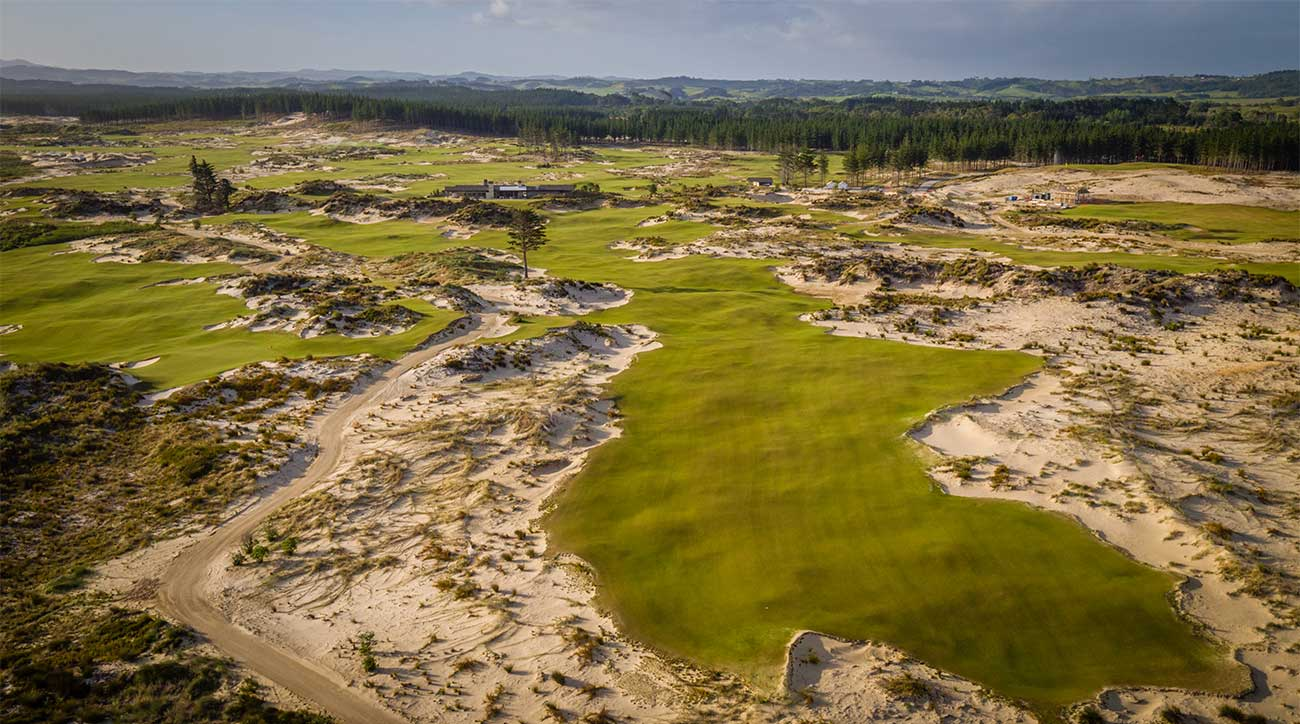 A view of the 18th hole at Tara Iti in New Zealand.