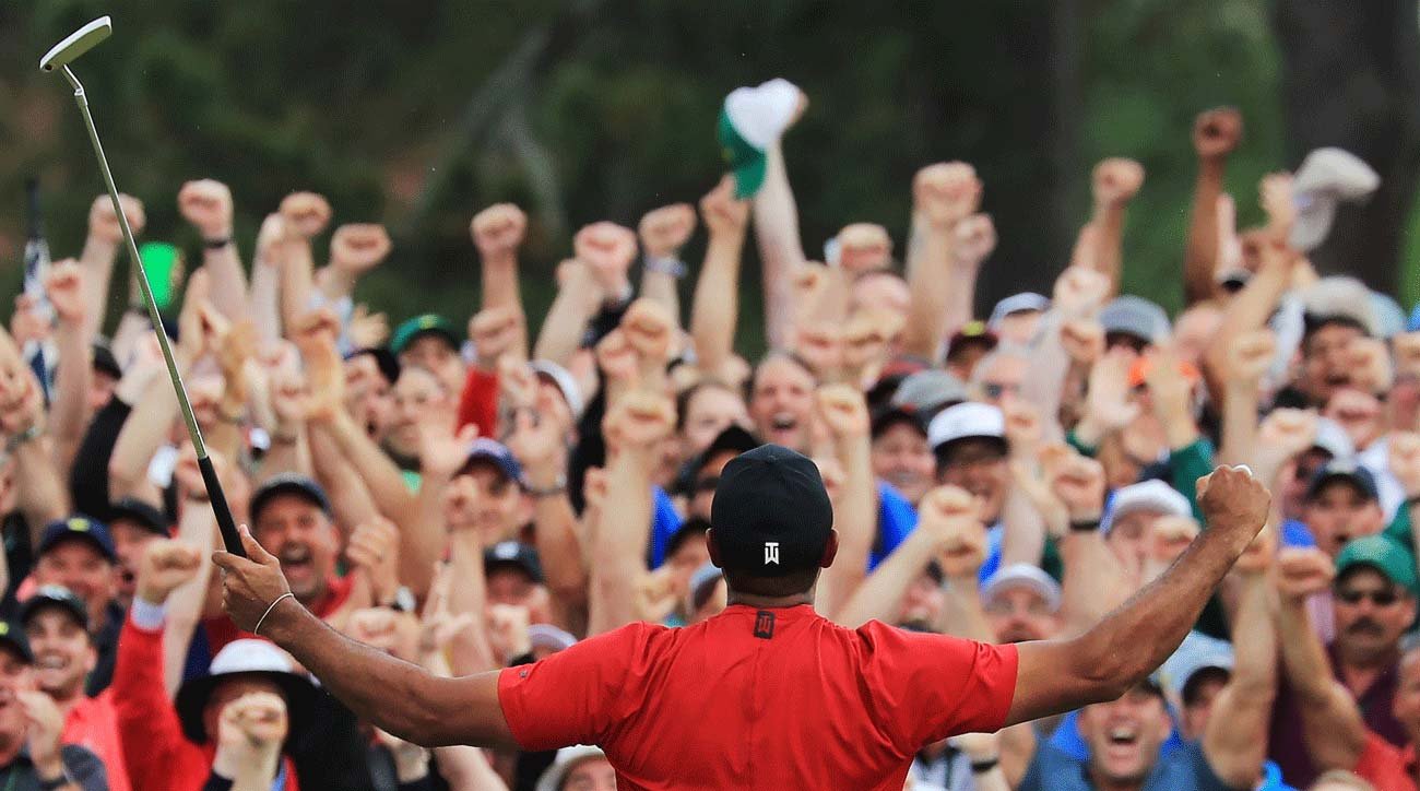 Tiger Woods celebrates his 2019 Masters title.