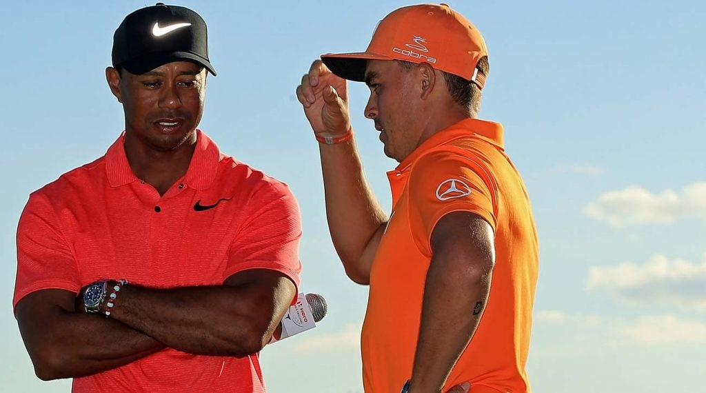 Tiger Woods and Rickie Fowler at the 2017 Hero World Challenge.