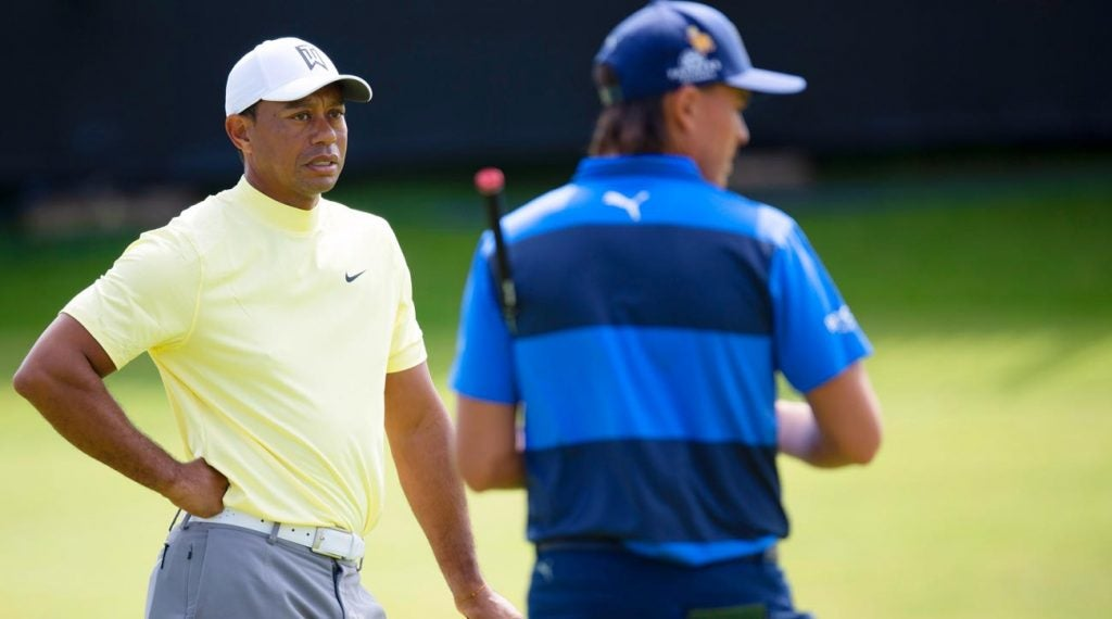 Tiger Woods and Rickie Fowler pictured at the 2019 Open Championship at Royal Portrush.