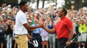 Tony Finau congratulates Tiger Woods on winning the 2019 Masters
