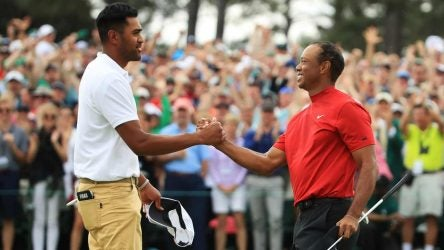 Tony Finau congratulates Tiger Woods on winning the 2019 Masters