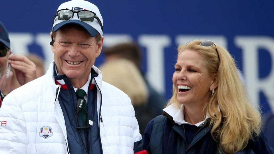 Tom and Hilary Watson at the 2014 Ryder Cup.