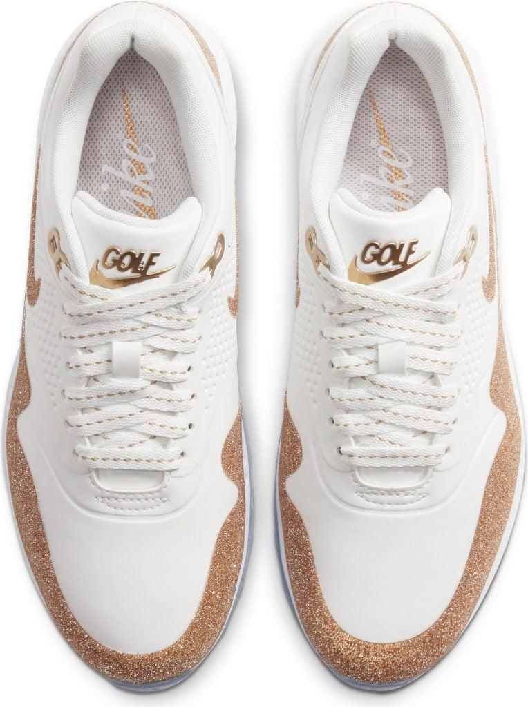 nike roshe golf shoes white gold