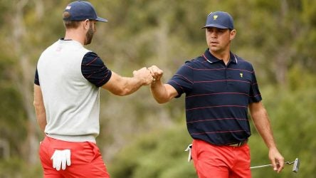 Dustin Johnson and Gary Woodland won their match on Saturday afternoon.