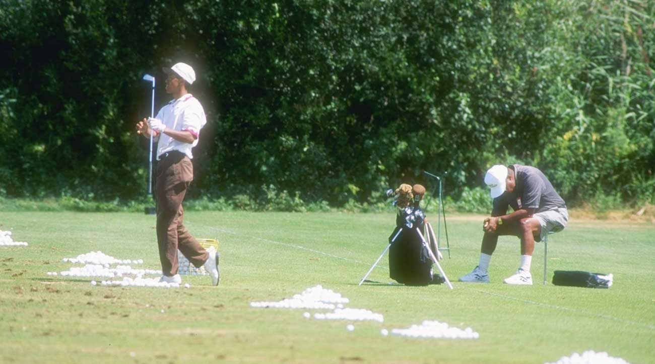 One of the earliest pictures of Woods with the Tiger headcover came here, on the driving range at the 1995 U.S. Amateur.