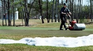 Golf course melting snow