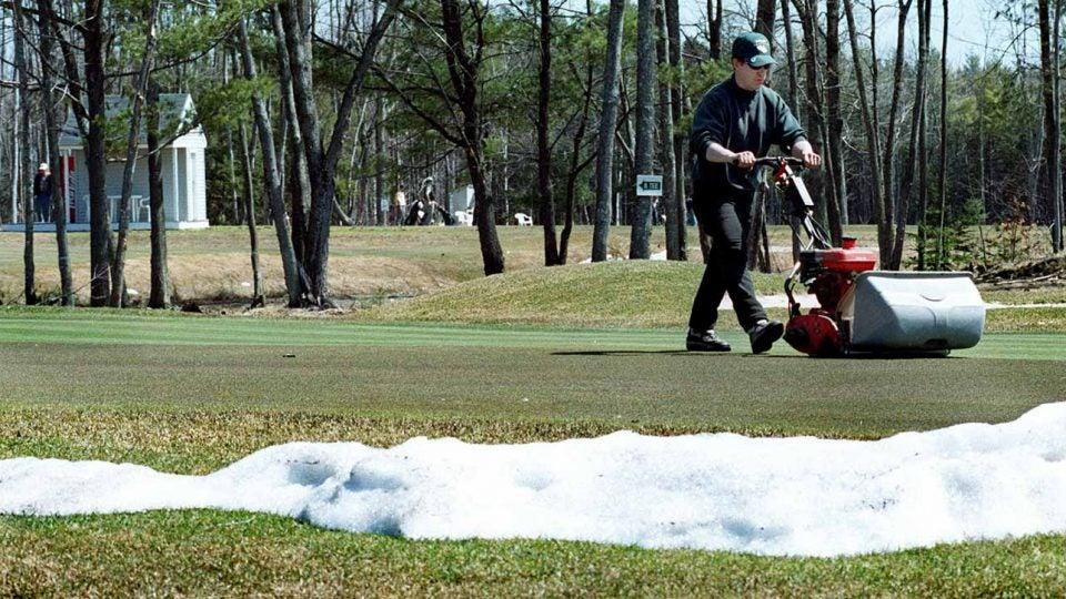 Golf course melting snow