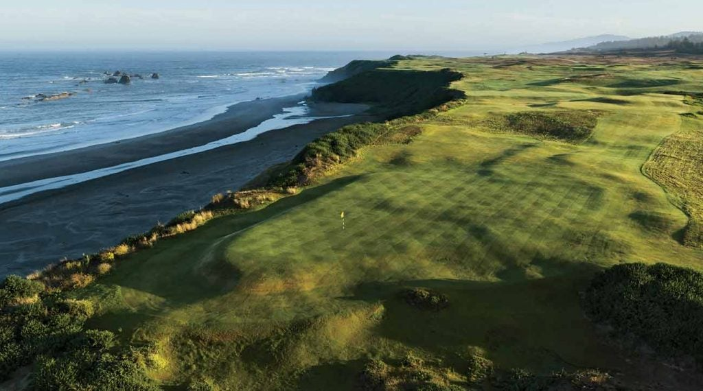 The green on the par-3 7th, one of nine that hug the Pacific Ocean.