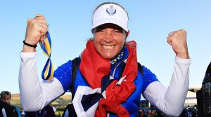 Suzann Pettersen celebrates Europe's Solheim Cup victory.