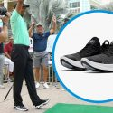 Tiger Woods wore Nike Joyride Run Flyknit sneakers during the Hero Shot Challenge.