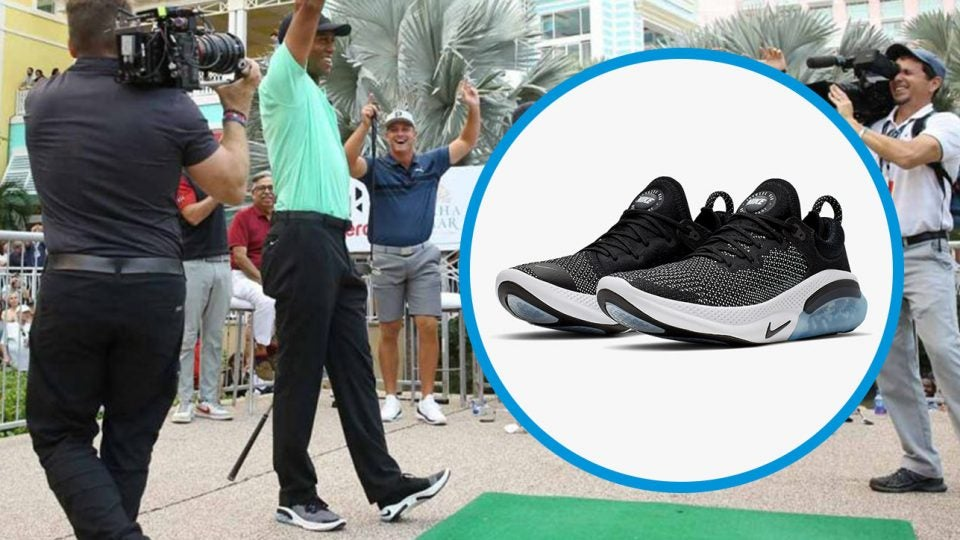Tiger Woods wore Nike Joyride Run Flyknit sneakers during the Hero Shot Challenge.