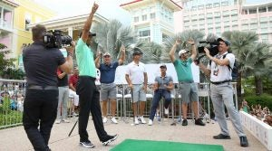 Tiger Woods hit the clinching final shot in tight at the Baha Mar.