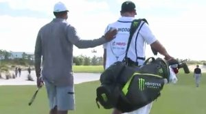 David Gilbert caddied for Tiger Woods in Wednesday's Pro-Am at the Hero World Challenge.